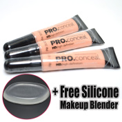 LA Girl Pro Concealer 3 x GC971 Classic Ivory HD Liquid + 1 Free Silicone Makeup Blender