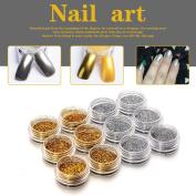 TRENDINAO New Nail Art DIY Glitter Gold Silver Glitter Powder Dust Acrylic UV Gel Tips Set