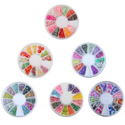 6 Wheels Combo Set Nail Art Polymer Slices Fimo Decal Pieces Accessories - Butterflies,Fruit,Flowers,Feather,Waterdrop,Heart by Team-Management