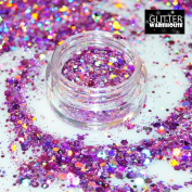 GlitterWarehouse Chunky Rose Pink Mermaid Loose Holographic Solvent Resistant Cosmetic Grade Glitter