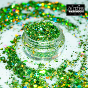 GlitterWarehouse Chunky Lime Green Mermaid Holographic Solvent Resistant Cosmetic Grade Glitter. Great for Makeup, Body Tattoo, Nail Art and More! …