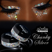 Chunky Silver - GlitterWarehouse Chunky Loose Holographic Solvent Resistant Cosmetic Grade Glitter