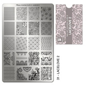"""MOYRA Stamping plate """" LACE LOVE 5.1cm High quality Nail Stamping plate"""
