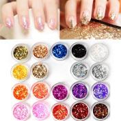 C-Pioneer 24 Colours Nail Glitter Sequins Paillette Nail Art Powder Set