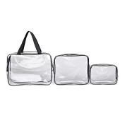 TMOcom 3 in 1 Cosmetic Bags Plastic Makeup Bags & Cases PVC Clear Tolietry Bag Hanging Organiser Bag Kit