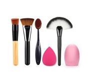 4pcs Best Makeup Brush Set Travel Cosmetic Brushes Contouring Fan Kabuki Foundation Blending Blush Face Powder Brush Makeup Brush Kit Beauty Cosmetic Tools Free Makeup Sponge and Brush Egg
