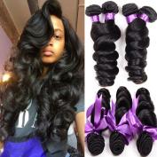 Shireen Brazilian Virgin Hair Loose Wave Hair Weave 4 Bundles 400g 100% Unprocessed Loose Deep Wave Virgin Human Hair Weave Natural Black