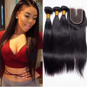 UR Meili Brazilian Straight Hair With Lace Closure 4 bundles With Lace Closure Human Hair With Closure Straight Hair