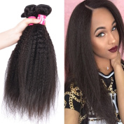Wome Hair Kinky Straight Hair Weave Hair Extensions/Weft 100 Peruvian Virgin Remy Human Hair With Unprocessed Natural Black Colour Size 41cm to 60cm