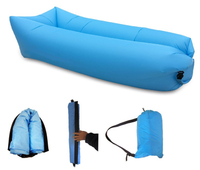 Inflatable Lounger Comfortable And Strong Lazy Couch Air Bed Blue Portable Sofa Durable Travel Airbag|Hang Out Bag|Lightweight Beanbag|Perfect for Beach, Camping, Sleeping, Suntanning|No Pump Needed
