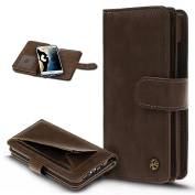 Galaxy S7 Edge Case,Wallet Case for Galaxy S7 Edge,ikasus PU Leather Flip Wallet Pouch Case Premium Leather Wallet Flip Case with Stand 9 Credit Card ID Holders Case Cover for Galaxy S7 Edge - Brown