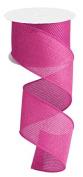 Hot Pink Cross Royal Burlap Wired Edge Ribbon - 6.4cm x 10 yards