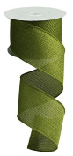 Moss Green Cross Royal Burlap Wired Edge Ribbon - 6.4cm x 10 yards
