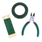 eBoot Floral Arrangement Tool Kit Floral Tape Stem Wrap 1/ 5.1cm by 30 Yards, 22 Gauge Green Paddle Wire and 11cm Wire Cutter