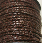 3mm - Round - Bolo (Braided) Leather Laces Available in 1 Yard, 5 Yard, 10 Yards Packing (25 Yards, Red Brown