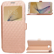 Galaxy J5 Prime Case, Galaxy On5 2016 Case,ARSUE Window View Ultra Slim Luxury PU Leather Wallet Flip Protective Case Cover with Card Slots and Kickstand for Samsung Galaxy J5 Prime - Rose Gold