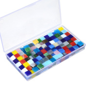 Satinior 250 g Assorted Colours Mosaic Tiles Glass Mosaic Pieces with Transparent Plastic Box for Home Decoration Crafts Supply, 1 by 1 cm