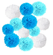 Wartoon Tissue Paper Pom Poms Flowers for Wedding Birthday Party Baby Shower Decoration, 12 pieces - Blue, Sky Blue and White