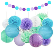 Sopeace 16 Pack Tissue Pom Poms Flowers Paper Lanterns and Polka Dot Paper Garland for Mermaids Under the Sea Theme Bridal Shower Wedding Ball Party Supplies Decoration