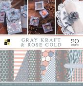 "DCWV Card Stock 30cm X12"" Grey Kraft and Rose Gold Premium Printed Stack"