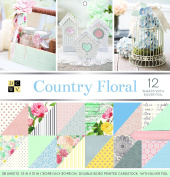 """DCWV Card Stock 30cm X12"""" Country Floral Premium Printed Cardstock Stack"""