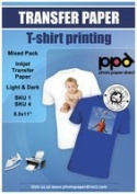 Inkjet Iron-On Mixed Light and Dark Transfer Paper 22cm x 28cm Pack of 40 Sheets