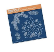 Groovi Parchment Embossing Plate - Jayne Nestorenko Poinsettias A5 - Laser Etched Acrylic for Parchment Craft