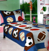 Mk Collection 3pc Bedspread Boys Sport Football Basketball Baseball New