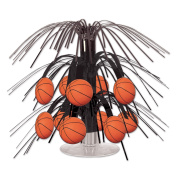Beistle Basketball Mini Cascade Centrepiece, 19cm , Black/Brown