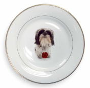 Cute Shih Tzu Dog with Rose Gold Rim Plate in Gift Box Christmas Present