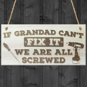 Red Ocean Grandad Can't Fix It We Are All Screwed Wooden Hanging Plaque Fathers Day Gift