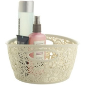 Mini Lace-Effect Practical & Pretty Hard Plastic Storage Tub - Cream