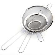 Fine Wire Mesh Kitchen Sieve Set 7/12/18 cm with Rim - Upgraded Verison