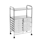 Trolley 2 Shelf And 9 White Plastic Drawers With Wheels Home Office Storage