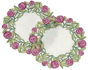 Pair of Doilies (small) in a Rennie Mack Pink Rose Design