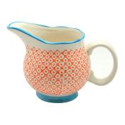 Patterned Porcelain Milk / Gravy / Cream Jug - Orange / Blue - 300ml