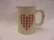 pink gingham heart mini cream Jug by Heron Cross Pottery