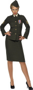 Smiffy's Adult Women's Wartime Officer Costume, Skirt, Jacket with Medal, Shirt Front, Tie and Hat, Troops, Serious Fun, Plus Size X2, 35335