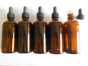 FIVE 100ml Amber Glass Bottles with Dropper Pipettes