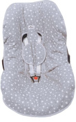 UNIVERSAL PADDED COVER LINER FOR BABY CARRIERS AND CAR SEAT (MAXI COSI MICO, CHICCO , BRITAX, ETC) WHITE STAR by Janabebe + HARNESS PROTECTION PADS