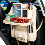 YOANKU Car Backseat Organiser with Dining Table - PU Leather Auto Back Seat Pocket Storage Bag Tray Foldable Car Tablet Holder