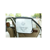 Mocase Car Magnetic Window Shade 3 Layers Sun Block, White/Black