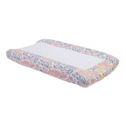 DwellStudio Boheme Peacock/Floral Print Changing Pad Cover, Peach/Gold/Grey