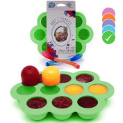 USA Standard- BPA Free | Homemade Baby Food & Frozen Breastmilk Freezer Storage Silicone Tray | Cover Lid | 45ml Portion Containers, Cups | Bonus 2 White-Hot Spoons | Makes a Great Gift! | Green
