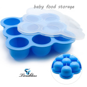 Silicone Baby Food Freezer Tray, Tinabless Baby Food Storage with Clip-On Lid, for Homemade Baby Food, Vegetable & Fruit Purees and Breast Milk, BPA Free & FDA Approved Storage Container