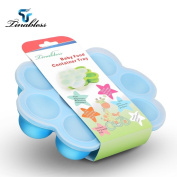 Baby Food Storage, Tinabless Homemade Food Storage with Clip-On Silicone Lid, BPA Free & FDA Approved Multipurpose Silicone Baby Food Freezer Tray