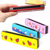 Baby 3 PCS Cartoon Harmonica Toy for Kids Beginner with 16 Holes Musical Instrument Wooden Toy for Children Learning