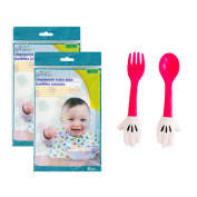 Disposable Baby Bibs (2 Packages of 6) and Minnie Mouse Baby Fork and Spoon (6m+) Bundle