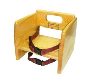 Winco CHB-701 Stacking Booster Seat W/ Waist & Chair Straps, Natural - Wood Booster Seats-CHB-701
