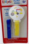 Blue and Yellow Front Loader Pacifier Holder Clip